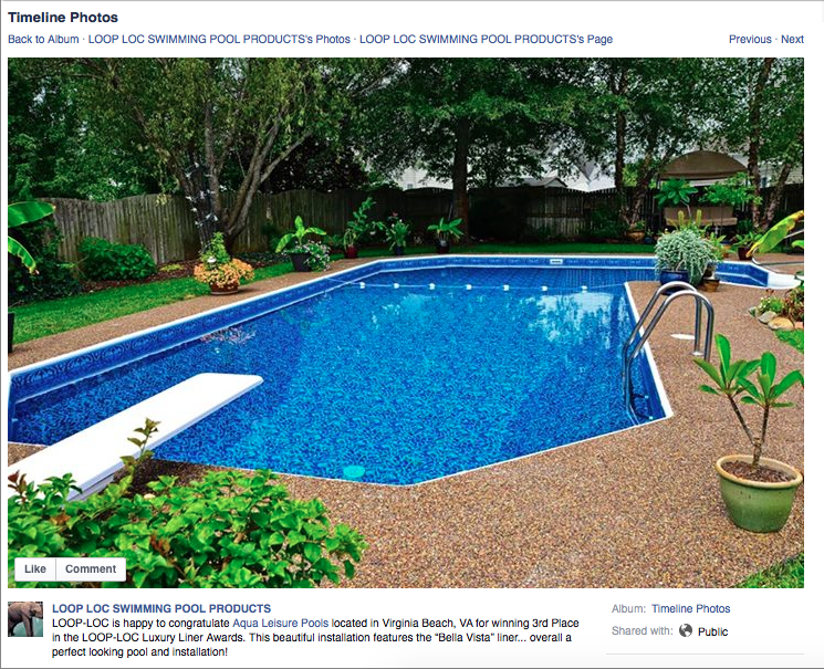facebook post from LOOP-LOC announcing Aqua Leisure's 3rd place finish in the LOOP-LOC Luxury Liner Awards